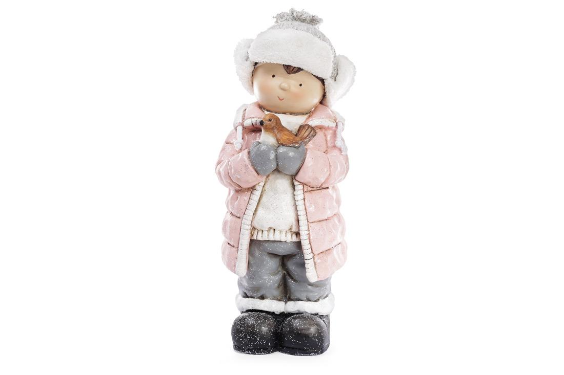 Новогодняя фигура Мальчик с птичкой 53см, цвет - розовый, керамика, 1шт. (820-147) - фото Новогодняя фигура Мальчик с птичкой 53см, цвет - розовый 820-147