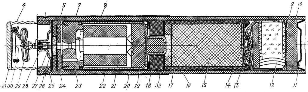 Рис. 4. 40-мм реактивный осветительный патрон увеличенной дальности (разрез):