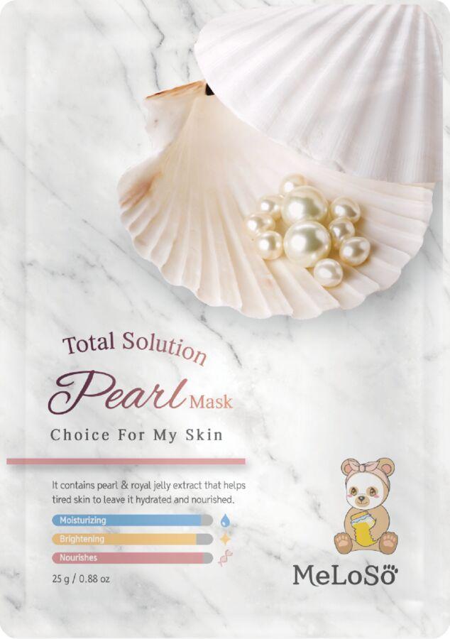 Meloso Total solution pearl mask Тканевая мсака с экстрактом жемчуга, 25 гр