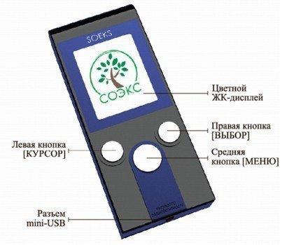 Элементы управления индикатора радиоактивности