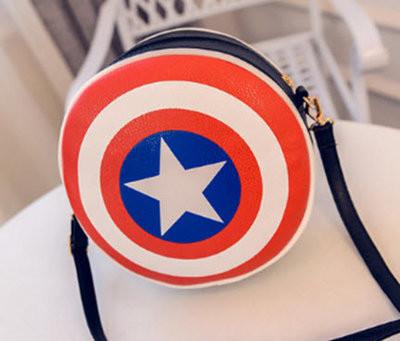 """Сумка клатч """"Щит Капитана Америка"""". Креативная женская сумка. Сумка из фильма. Круглая сумка. Код: КБН81 - фото 1"""