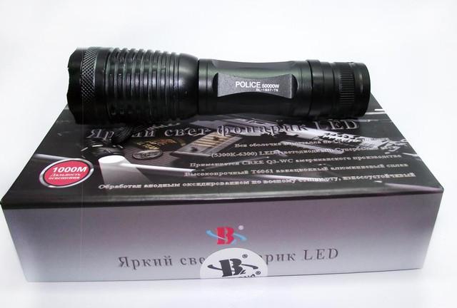 Металлический фонарик Police BL-1837 Т6. 1200 lumen. 5 режимов. Аккумулятор 6800 mAh. Код: КТМТ169. - фото 6