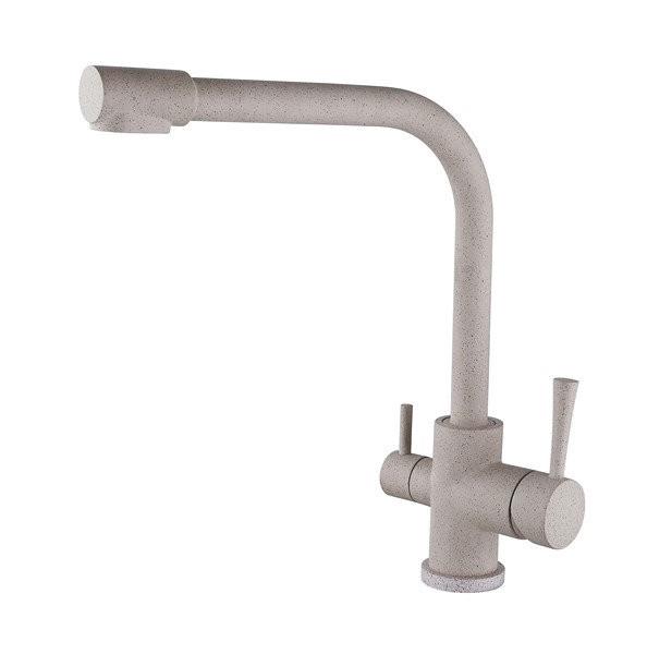 Смеситель для кухни с краном питьевой воды, латунный, однорычажный KAISER MERCUR 26044 - 4 Песочный бежевый