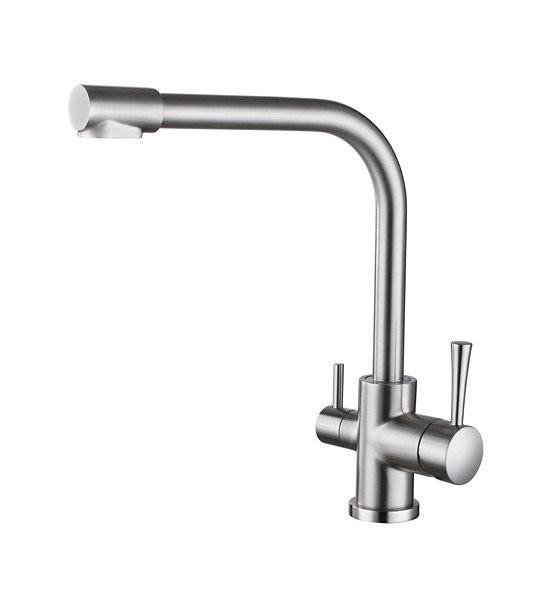 Смеситель для кухни с краном питьевой воды, латунный, однорычажный KAISER MERCUR 26044 - 5 Серебристый