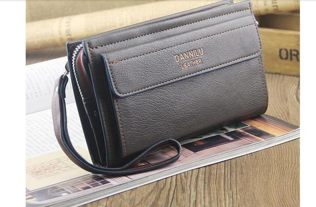 Качественная Мужская кожаная сумка, борсетка, клатч, кошелек ДАНИЛУ. Код: КСЕ68 - фото 3