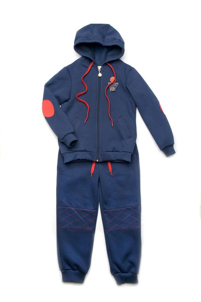 Детский спортивный костюм для мальчика 4 - 8 лет  (толстовка+брюки) ТМ Модный карапуз  (синий) 03-00612-0