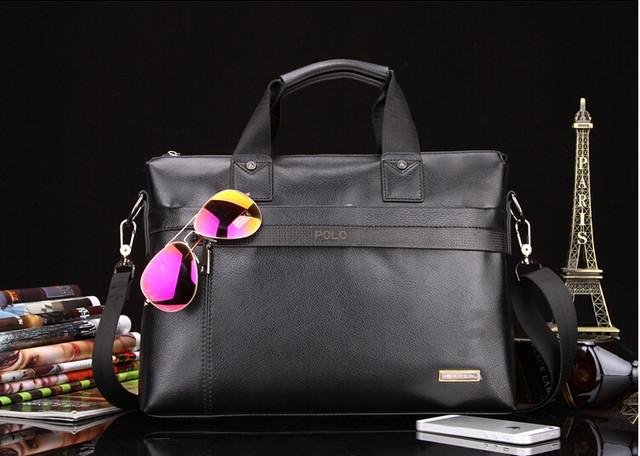 Мужская кожаная сумка Polo. Портфель. Бизнес сумка.  Высокое качество. Сумка через плече. Код: КС23. - фото 3
