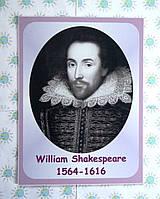 Портреты английских поэтов и писателей Шекспир 25х33 см