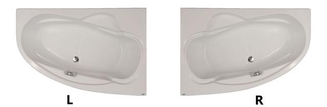 Ассиметричная акриловая ванна Fibrex Lotus 1500х1000х550 мм правосторонняя - фото 1