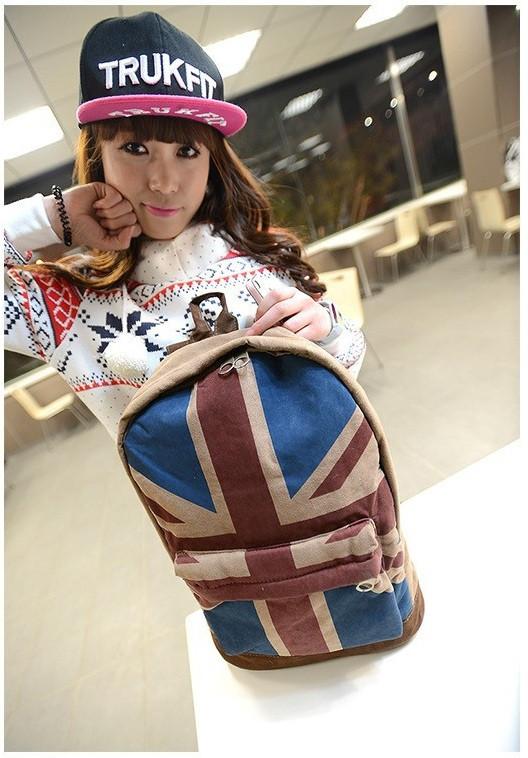 Модный рюкзак. Повседневный  рюкзак. Рюкзаки унисекс. Флаг сша и великобритании . Современный. Код: КРСК2 - фото 1