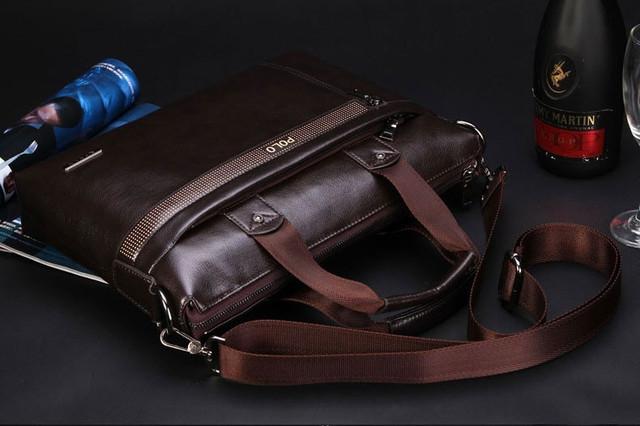 Мужская кожаная сумка Polo. Портфель. Бизнес сумка.  Высокое качество. Сумка через плече. Код: КС23. - фото 1