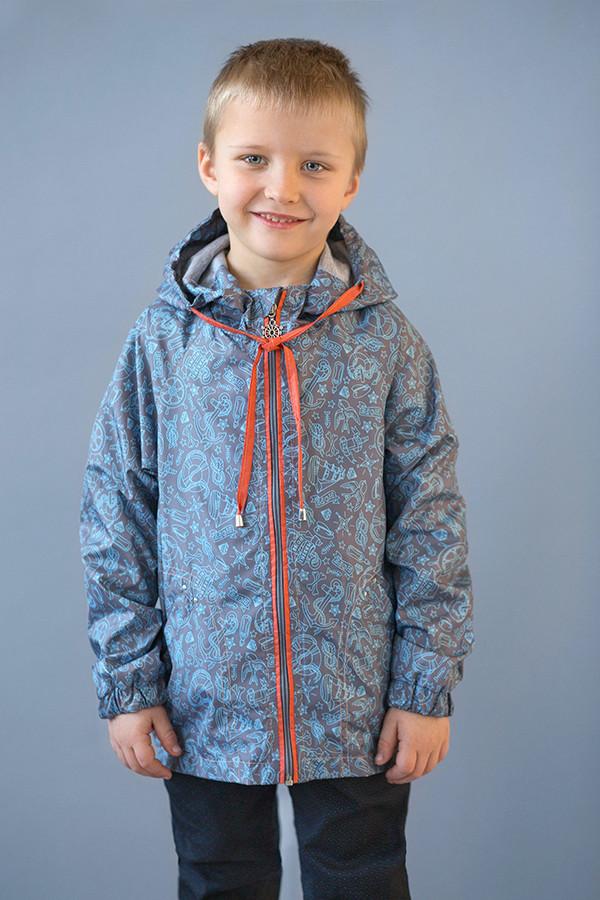 Ветровка морская для мальчика 2-6 лет, р. 92-116 ТМ Модный карапуз Серый 03-00634-1