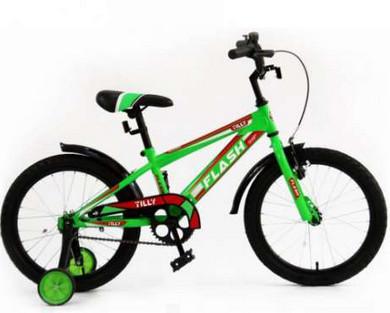"""Детский двухколесный велосипед Flash 16"""" салатовый и красный - фото 1"""