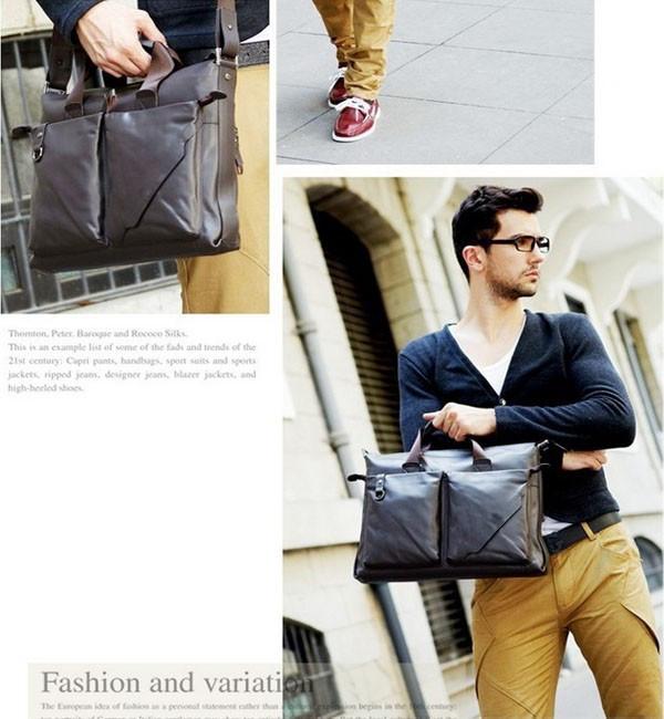 Стильная Мужская кожаная сумка-портфель ПОЛО. Высокое качество. Портфель для мужчин. КожаPU  Код: КСЕ148 - фото 8