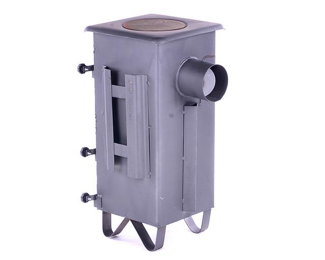 Печь буржуйка стальная 160м2 7 шамотных кирпичей с чугунной плитой - фото 1