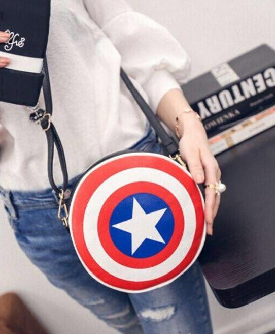 """Сумка клатч """"Щит Капитана Америка"""". Креативная женская сумка. Сумка из фильма. Круглая сумка. Код: КБН81 - фото 2"""