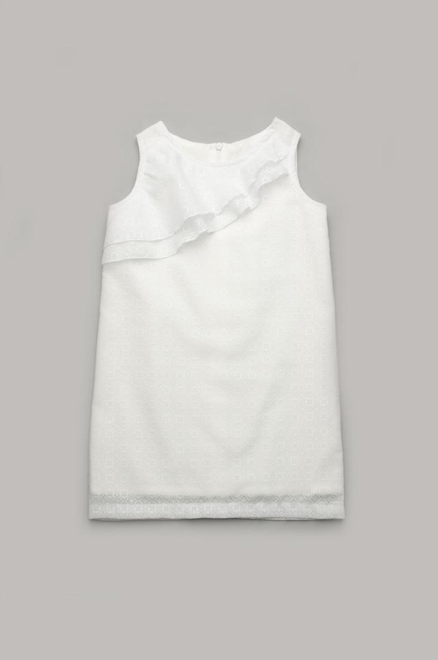 Нарядное летнее платье для девочки 6 - 9 лет из хлопка р. 116-134 ТМ Модный карапуз Белый 111-00004