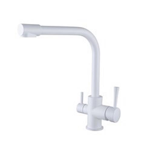 Смеситель для кухни с краном питьевой воды, латунный, однорычажный KAISER MERCUR 26044 - 10 Белый