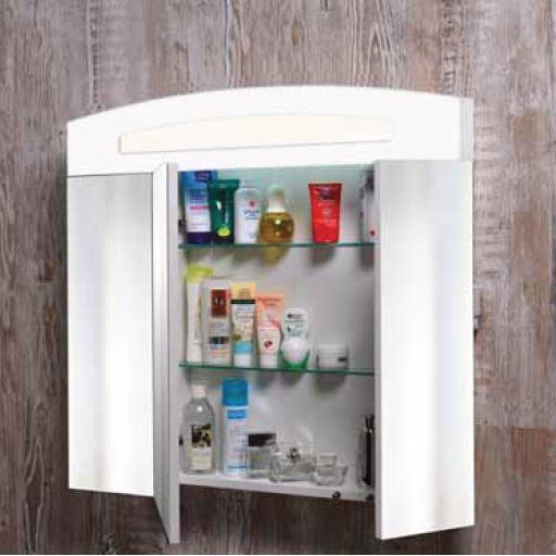 Зеркальный шкаф Бонус ЗШ-80 с раскрытыми дверцами