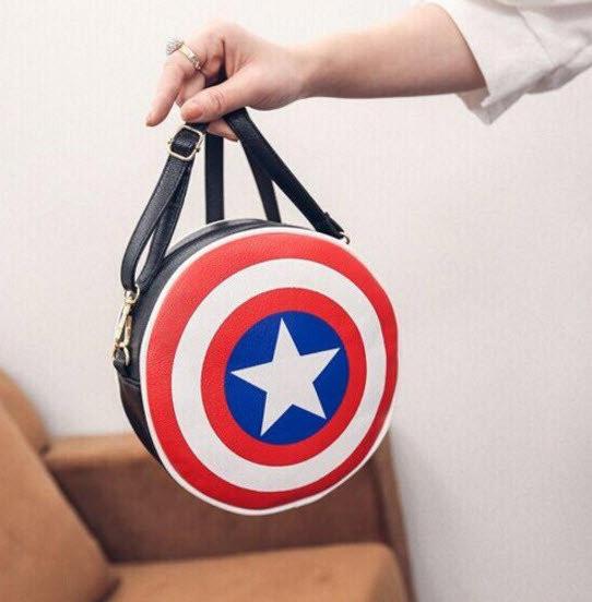 """Сумка клатч """"Щит Капитана Америка"""". Креативная женская сумка. Сумка из фильма. Круглая сумка. Код: КБН81 - фото 4"""