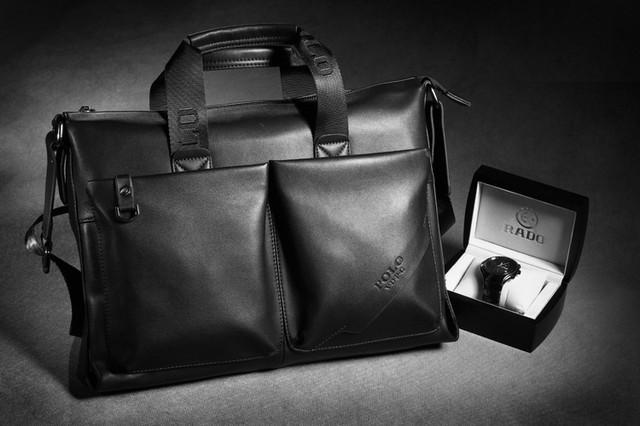 Стильная Мужская кожаная сумка-портфель ПОЛО. Высокое качество. Портфель для мужчин. КожаPU  Код: КСЕ148 - фото 1