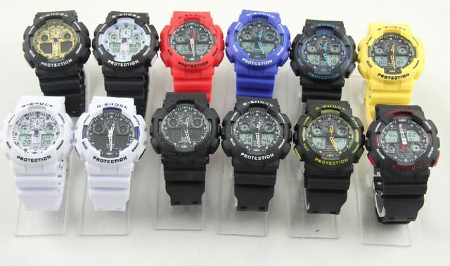 Неубиваемые спортивные наручные часы Casio G-shock GA-100 разных цветов Желтый Черный Черный - фото 1