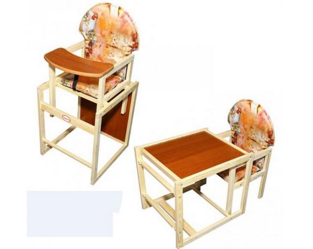 Детский стульчик для кормления трансформер Vivast № 2  с большой спинкой и рисунком - фото 3