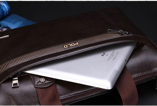 Мужская кожаная сумка Polo. Портфель. Бизнес сумка.  Высокое качество. Сумка через плече. Код: КС23. - фото 10