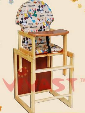 Детский стульчик для кормления трансформер Vivast № 2  с большой спинкой и рисунком - фото 4