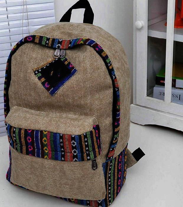 Городской модный рюкзак. Рюкзак-портфель из холста. Рюкзаки унисекс (мужские и женские). Код: КРСС130 - фото 4