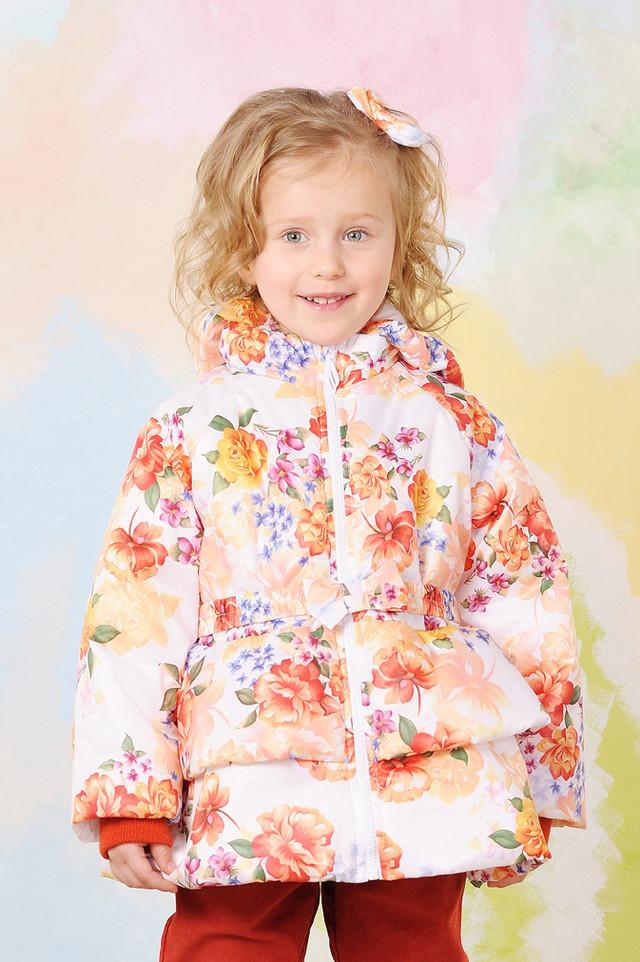 Куртка демисезонная для девочки  (Цветы) Модный карапуз