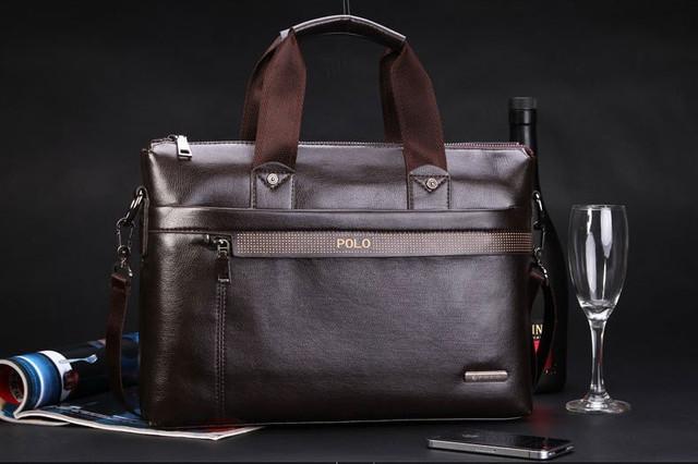 Мужская кожаная сумка Polo. Портфель. Бизнес сумка.  Высокое качество. Сумка через плече. Код: КС23. - фото 7