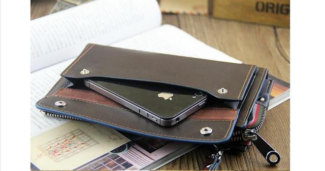 Качественная Мужская кожаная сумка, борсетка, клатч, кошелек ДАНИЛУ. Код: КСЕ68 - фото 5