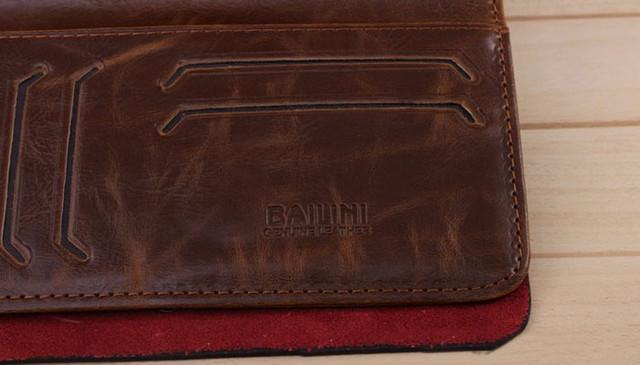 Хит продаж! Мужской кожаный кошелек, портмоне, бумажник. Кошельки для мужчин БАИЛИНИ. Лучший подарок. Код: КСЕ120 - фото 5
