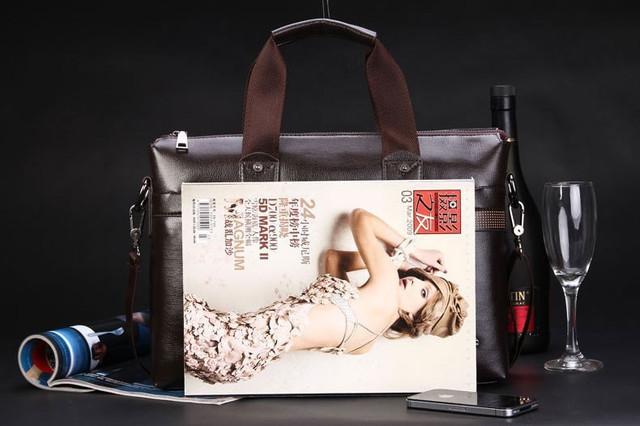 Мужская кожаная сумка Polo. Портфель. Бизнес сумка.  Высокое качество. Сумка через плече. Код: КС23. - фото 5