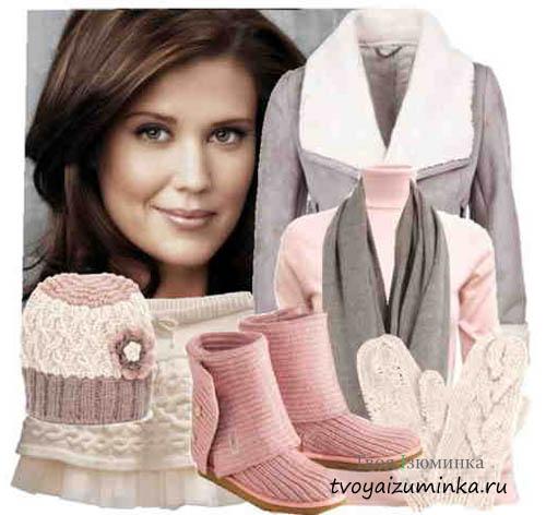 С чем носить розовые угги