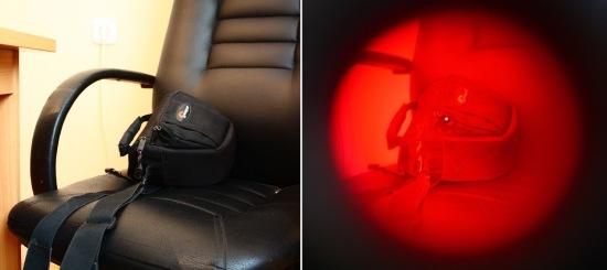 Справа — то, что видно 'невооруженным глазом', а слева — через обнаружитель 'BugHunter Dvideo'. Видите разницу? Скрытая камера в сумке!