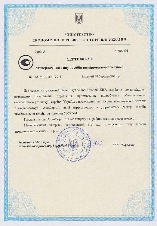 Сертификат утверждения типа средств измерительной техники