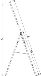 """Трехсекционная алюминиевая лестница TREND """"VHR T"""""""