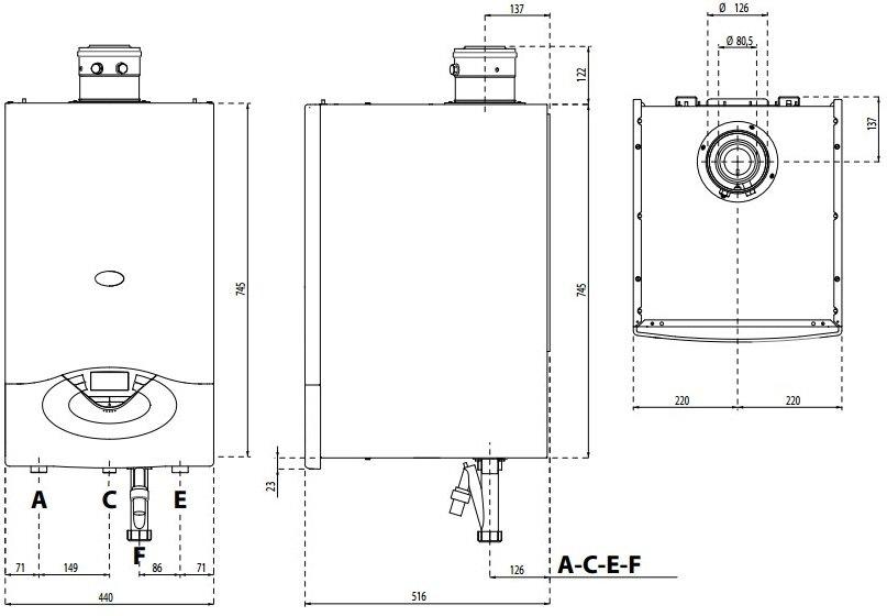 GENUS PREMIUM EVO HP 45/65 кВт - габаритные размеры