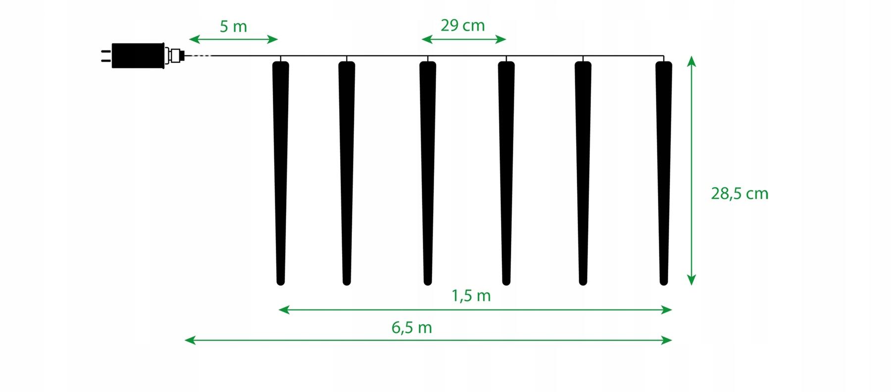 SOPLE METEORY світильники 6 шт. ПЛАВУЧИЙ 24 LED RGB 6м Кількість ламп 21-50