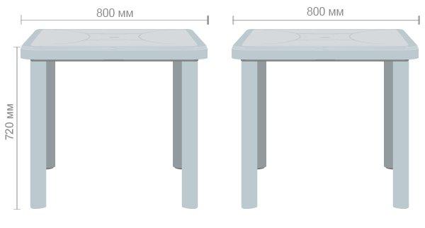 Технические характеристики стола Nettuno 80x80