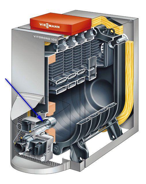 Котлы газовые - фото Котел со съемной вентиляторной (поддувной) горелкой