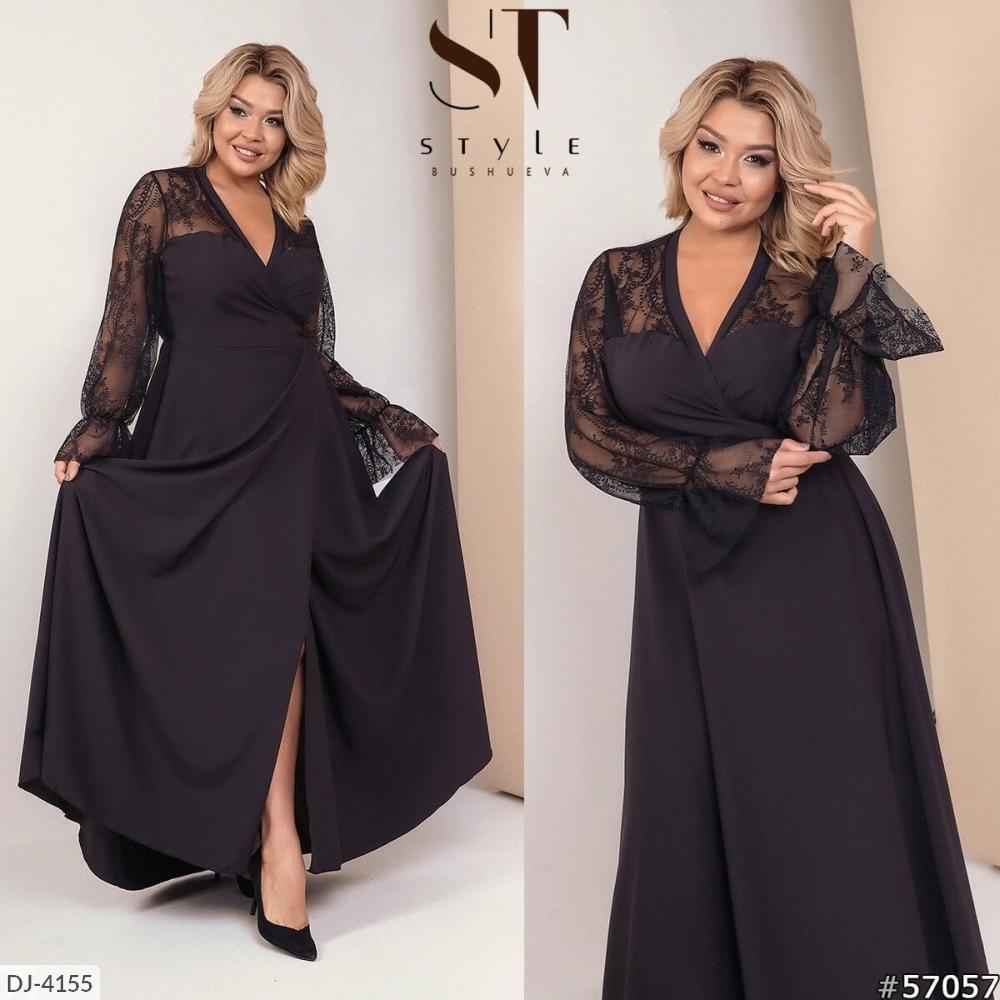 Вечернее платье на запах больших размеров с гирюровыми рукавами р. 48-64 - фото 1
