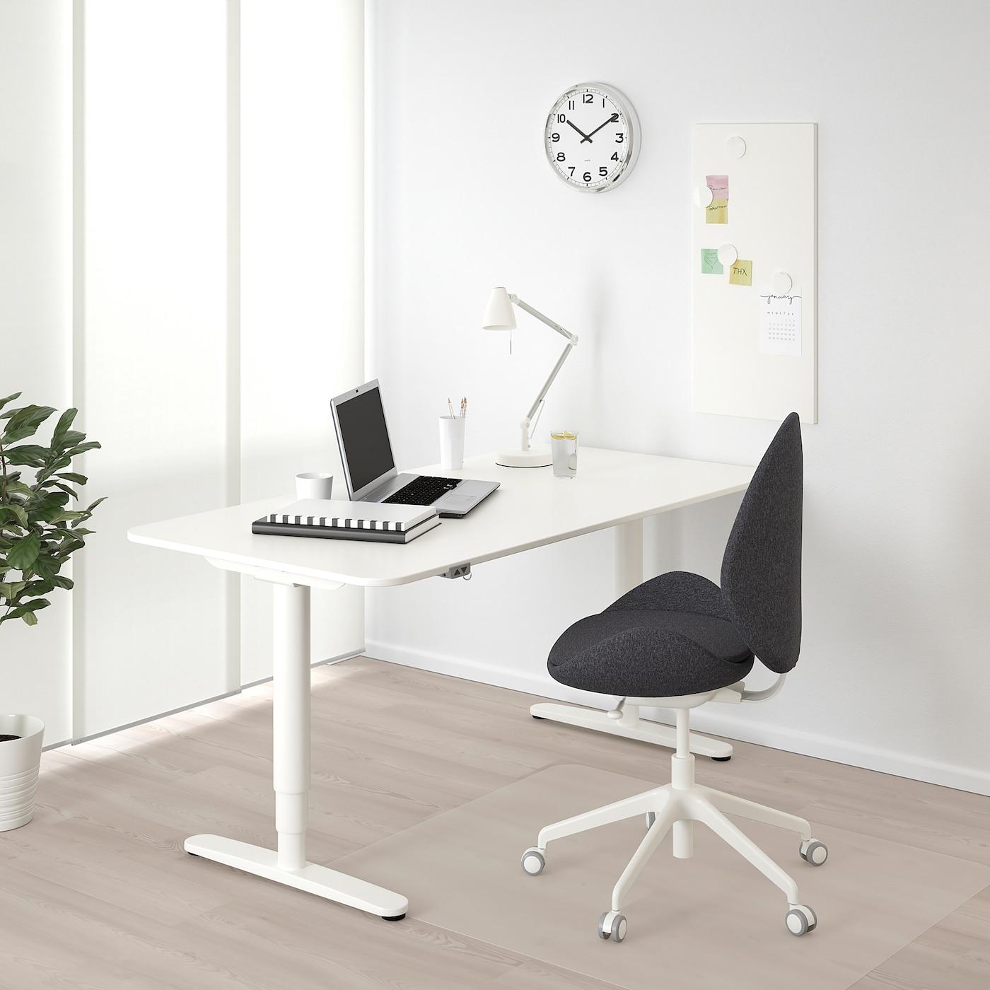 БЕКАНТ стіл регульований білий 160 см 80 см 65 см 125 см 70 кг
