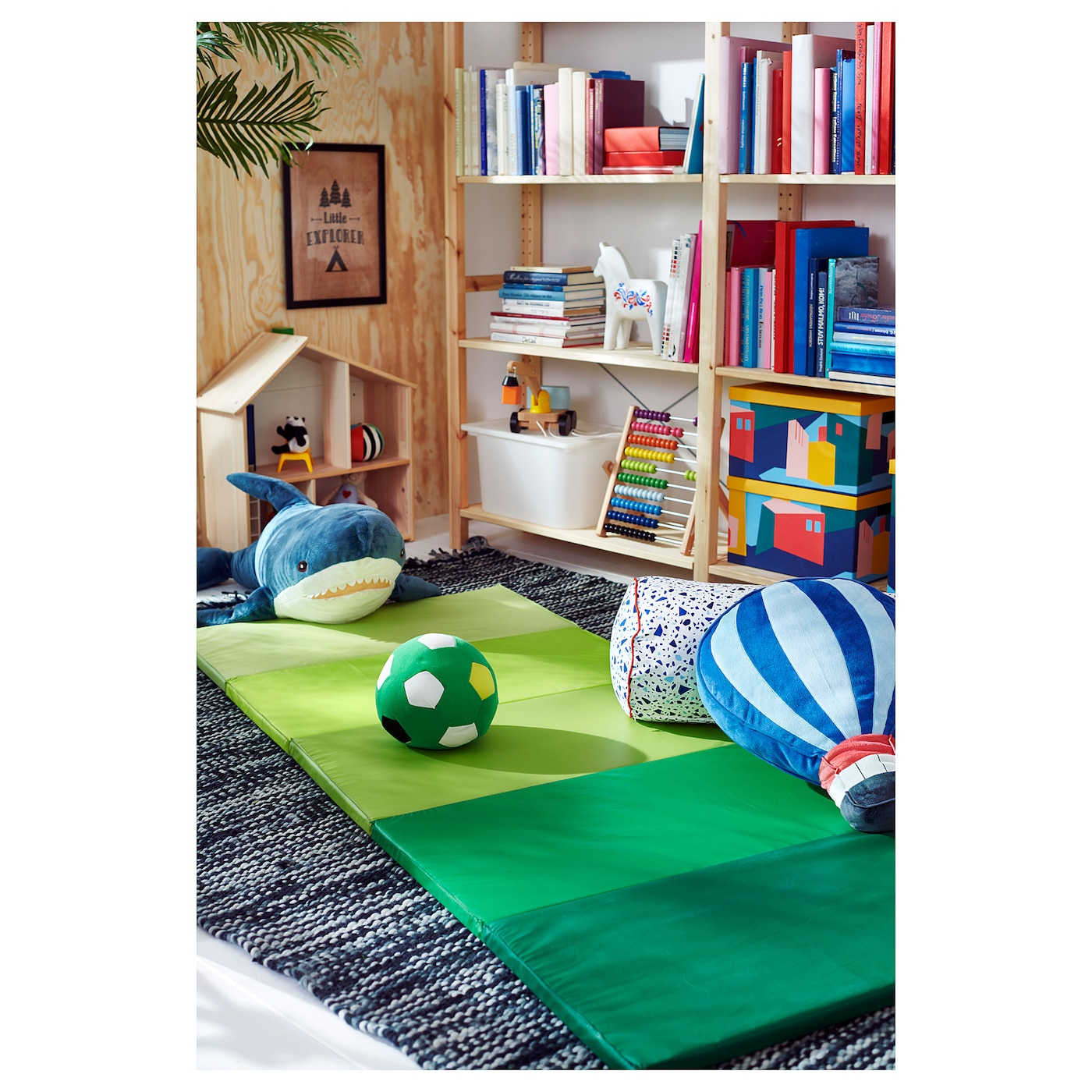 ПЛУФСІГ складаний спортивний килимок зелений 185 см 78 см 3.2 см