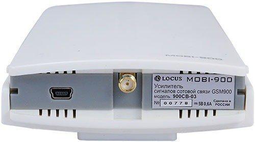 """На задней панели усилителя GSM сигнала """"MOBI-900 Country"""" имеется разъем для высокочастотного кабеля, через который осуществляется связь внутреннего блока с внешней антенной"""
