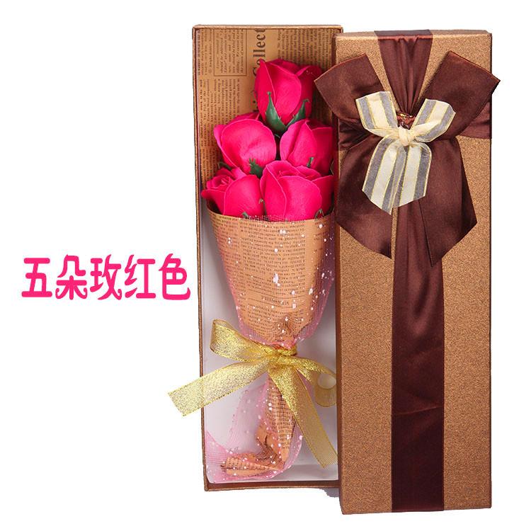 五朵玫瑰礼盒 [玫红]